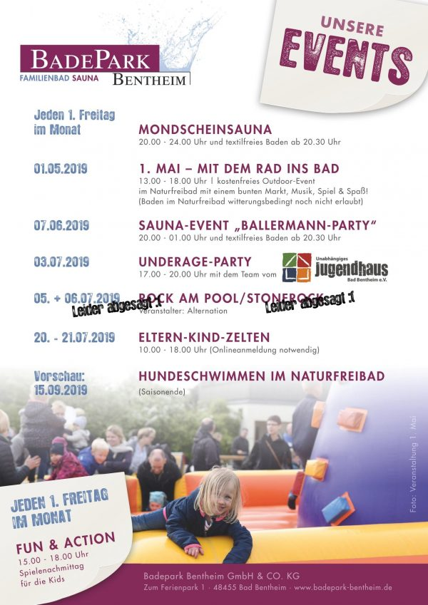 Badepark Bentheim Events Sommer 2019